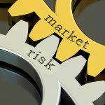 Market Risk concept on the gearwheels, 3D rendering