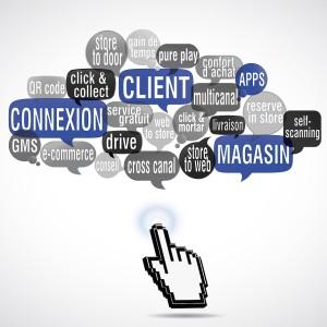 nuage de mots bulles carré  : connexion client magasin