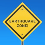 Earthquake Yellow Road Sign, 3D rendering